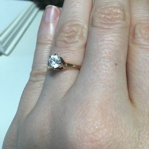 Fake Engagement Ring: Art Deco Style 12K RoseGold